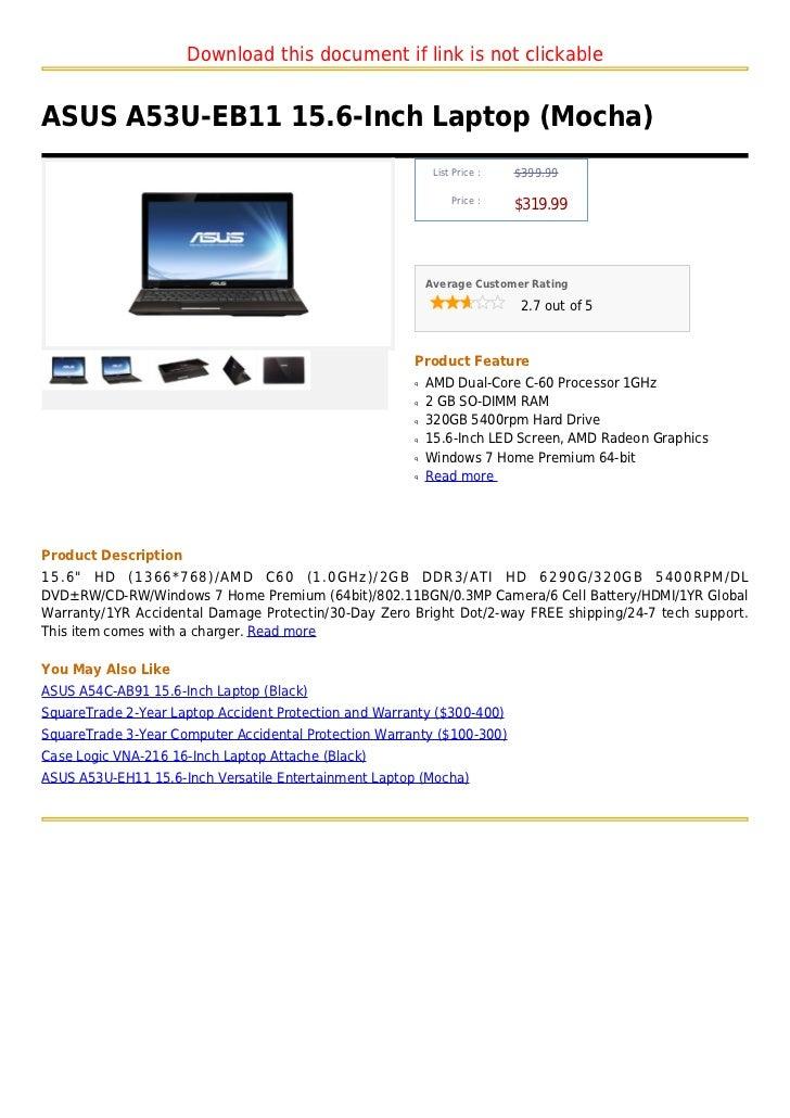 Asus a53 u eb11 15.6-inch laptop (mocha)