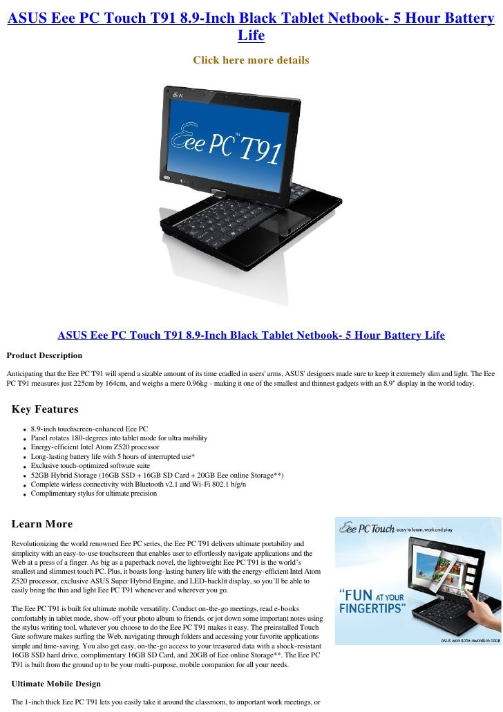 ASUS Eee PC Touch T91 8.9-Inch Black Tablet Netbook- 5 Hour Battery                                Life                   ...