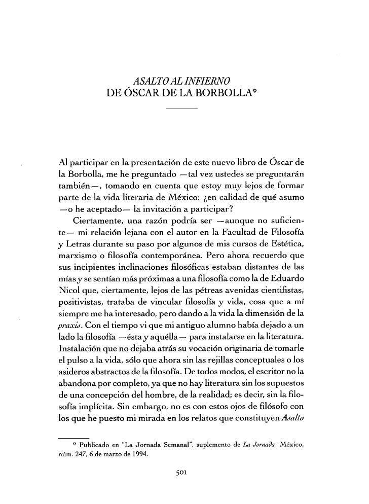 ASALTO AL INFIERNO              DE ÓSCAR DE LA BORBOLLASAl participar en la presentación de este nuevo libro de Óscar dela...