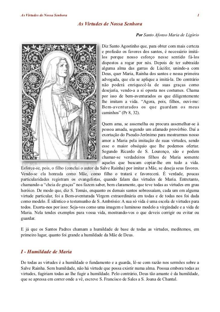 As virtudes de Nossa Senhora