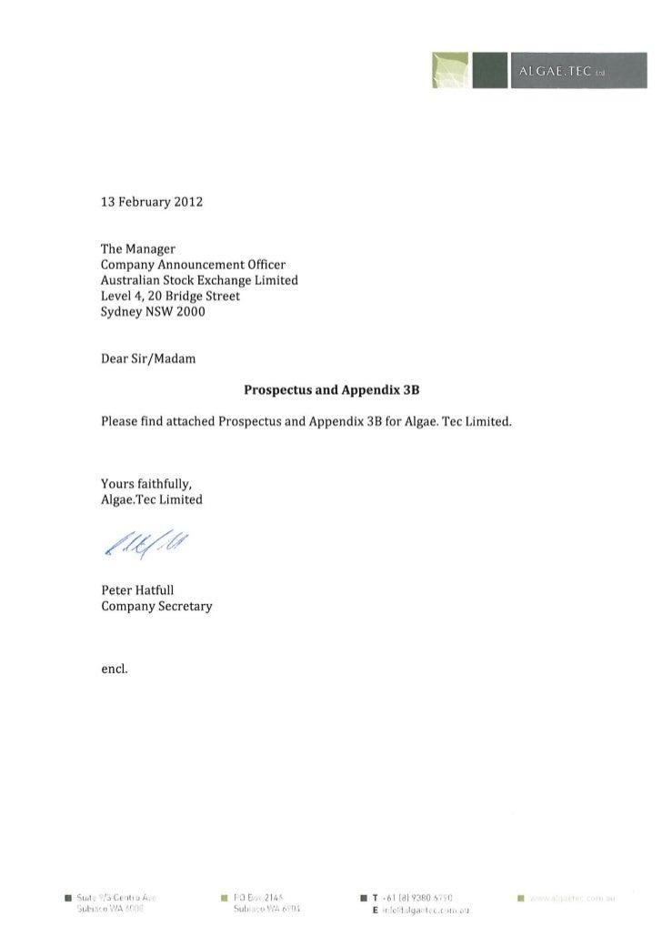 Prospectus and Appendix February 2012