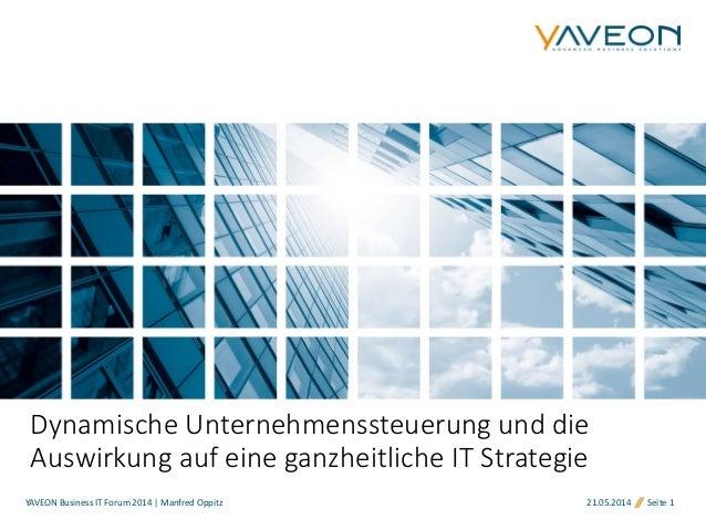 YAVEON Business IT Forum 2014 | Manfred Oppitz 21.05.2014 Seite 1 Dynamische Unternehmenssteuerung und die Auswirkung auf ...