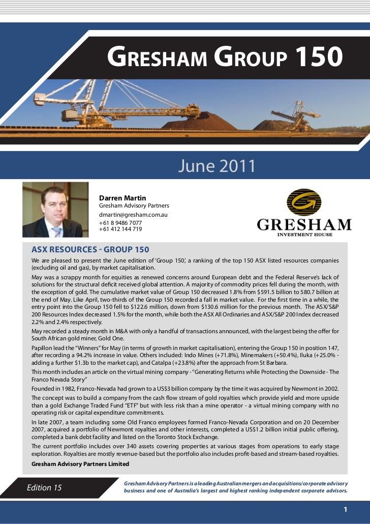 JUNE 2011                               Gresham Group 150                                                            June ...
