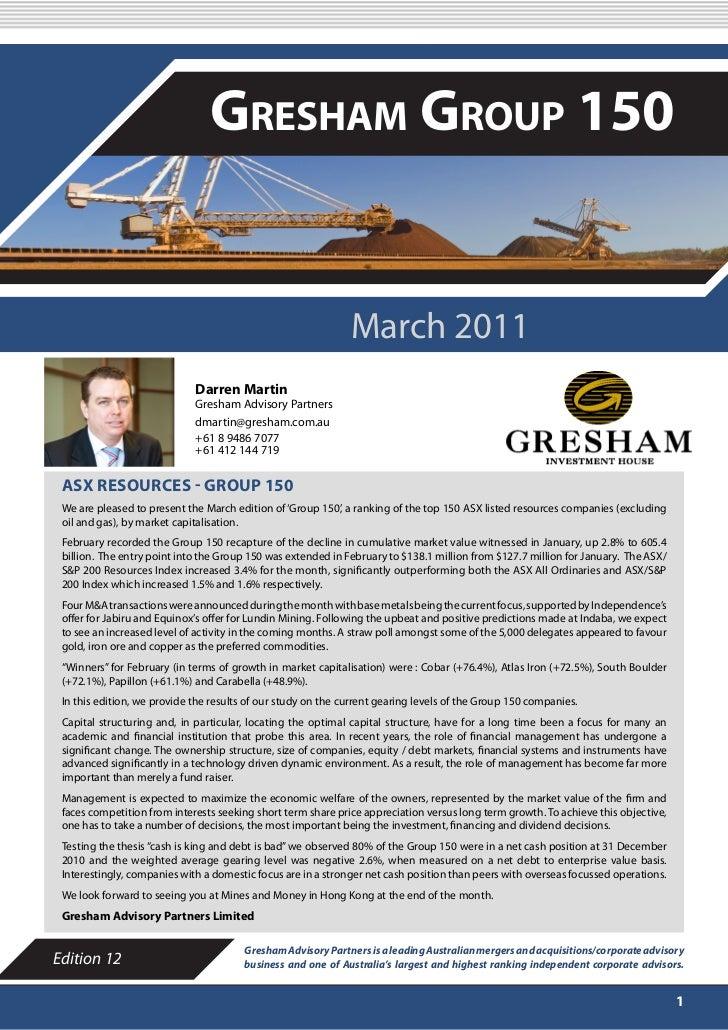 MARCH 2011                                Gresham Group 150                                                              M...