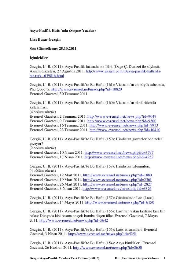 Gezgin Asya-Pasifik Yazıları Veri Tabanı ( -2003) Dr. Ulas Basar Gezgin-Vietnam 1 Asya-Pasifik Hattı'nda (Seçme Yazılar) U...