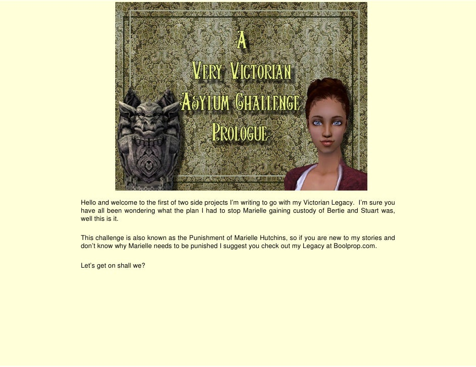 Hello and welcome to the first of two side projects I'm writing to go with my Victorian Legacy. I'm sure you have all been...