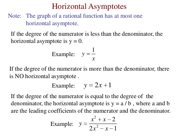 horizontal asymptote rules Best answer: there are a few rules for horizontal asymptotes, but vertical asymptotes are really easy, they occur wherever the expression is undefined, that is where the denominator equals zero.
