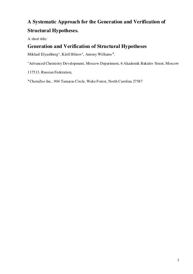 A Systematic Approach for the Generation and Verification ofStructural Hypotheses.A short title:Generation and Verificatio...