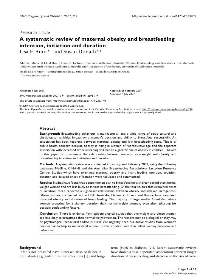 A Systematic Review Of Maternal Obesity And Breastfeeding Intention, Initiation And Duration