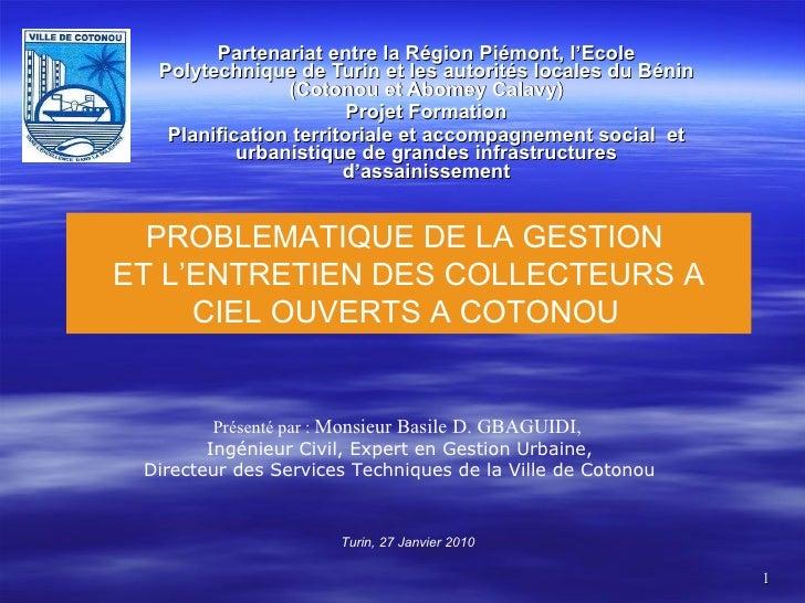 Partenariat entre la Région Piémont, l'Ecole Polytechnique de Turin et les autorités locales du Bénin (Cotonou et Abomey C...
