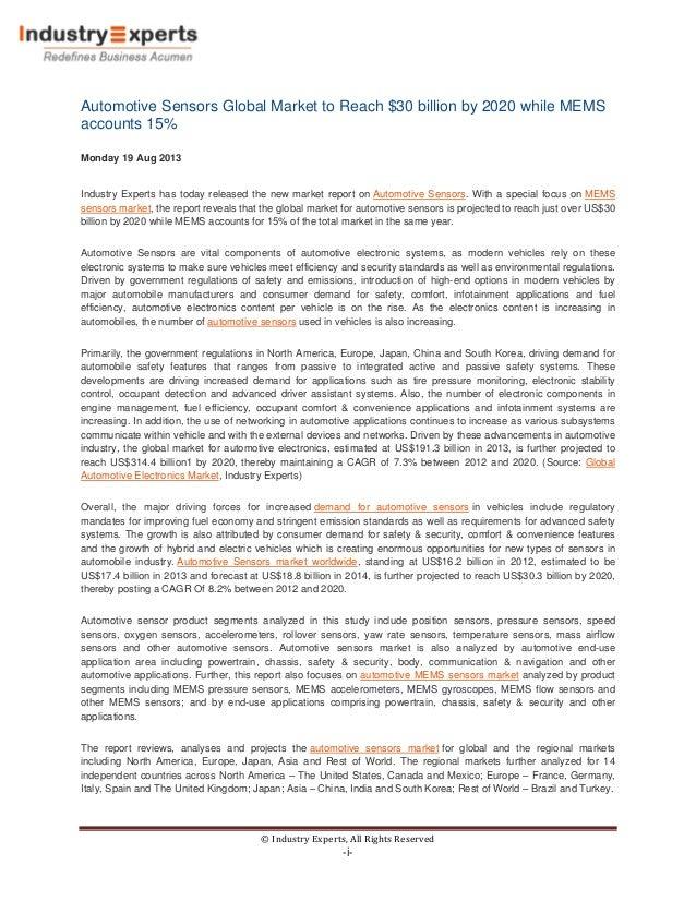 Automotive Sensors Global Market to Reach $30 billion by 2020 while MEMS accounts 15%