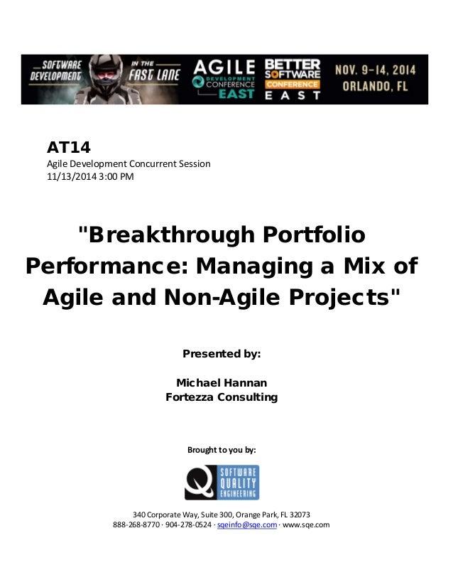Breakthrough Portfolio Performance: Managing a Mix of