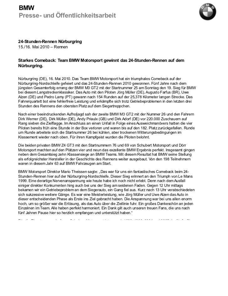 BMWPresse- und Öffentlichkeitsarbeit24-Stunden-Rennen Nürburgring15./16. Mai 2010 – RennenStarkes Comeback: Team BMW Motor...