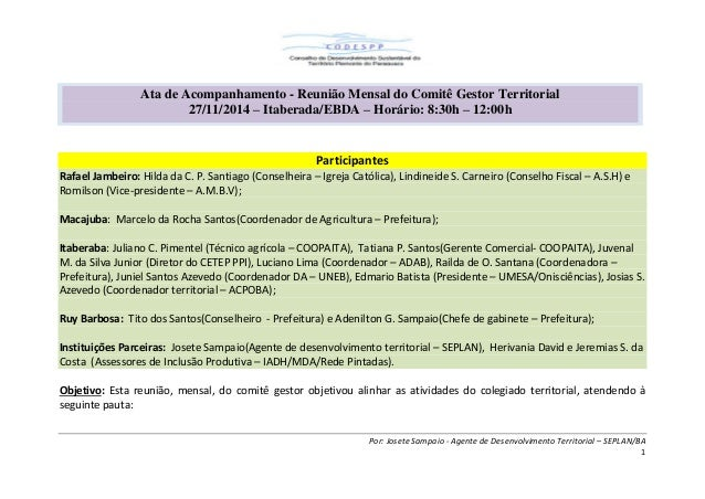 Por: Josete Sampaio - Agente de Desenvolvimento Territorial – SEPLAN/BA  1  Participantes Rafael Jambeiro: Hilda da C. P. ...