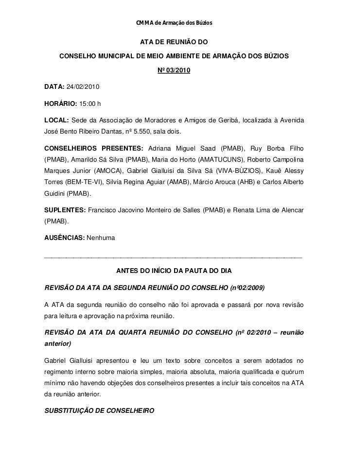 CMMA de Armação dos Búzios                                ATA DE REUNIÃO DO     CONSELHO MUNICIPAL DE MEIO AMBIENTE DE ARM...