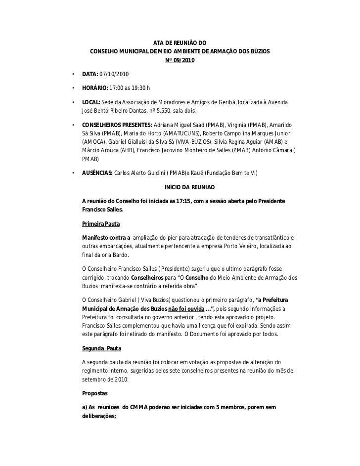 ATA DE REUNIÃO DO       CONSELHO MUNICIPAL DE MEIO AMBIENTE DE ARMAÇÃO DOS BÚZIOS                               Nº 09/2010...