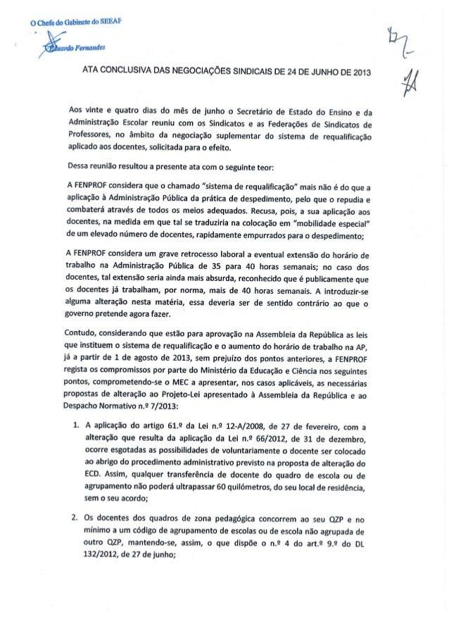 ATA CONCLUSIVA DAS NEGOCIAÇÕES SINDICAIS 24 JUN 2013