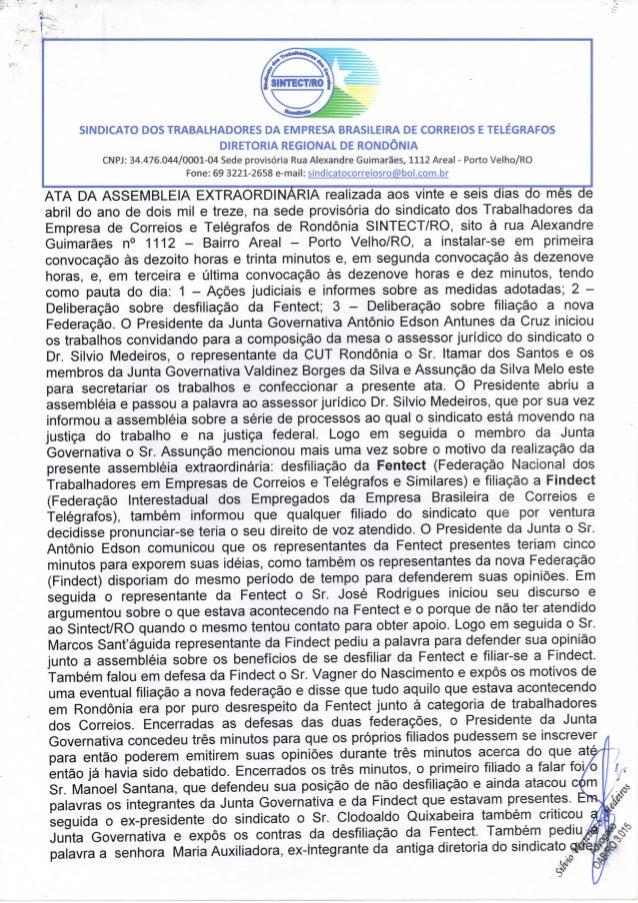 SINTECT/ RO  Random¡  SINDICATO DOS TRABALHADORES DA EMPRESA BRASILEIRA DE CORREIOS E TELÉGRAFOS  DIRETORIA REGIONAL DE RO...