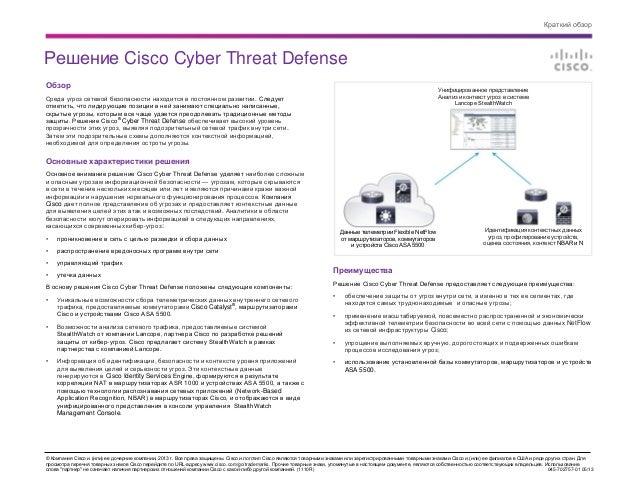 Краткий обзор Cisco Cyber Threat Defense