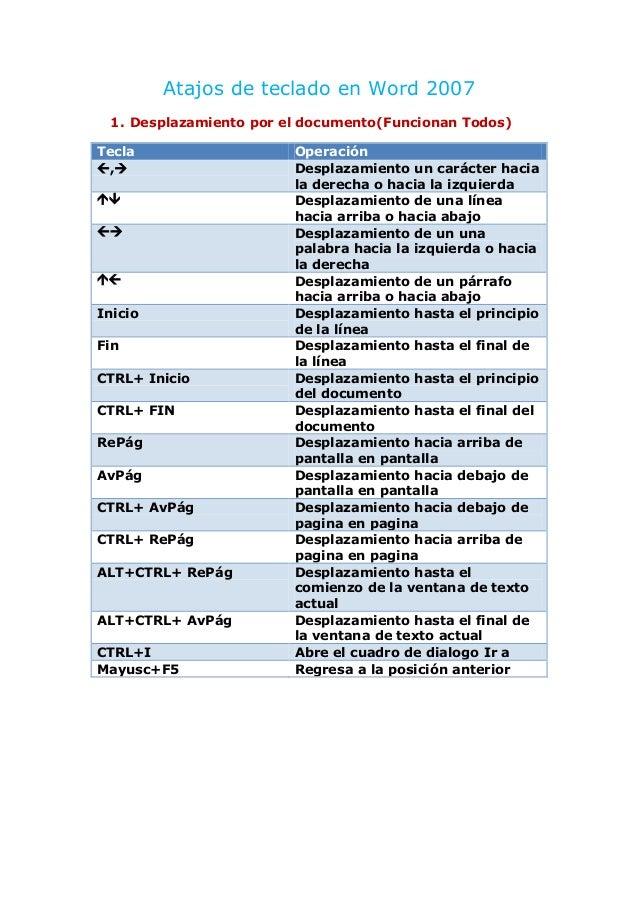 Atajos de teclado en Word 2007 1. Desplazamiento por el documento(Funcionan Todos) Tecla ,     Inicio Fin CTRL+ In...