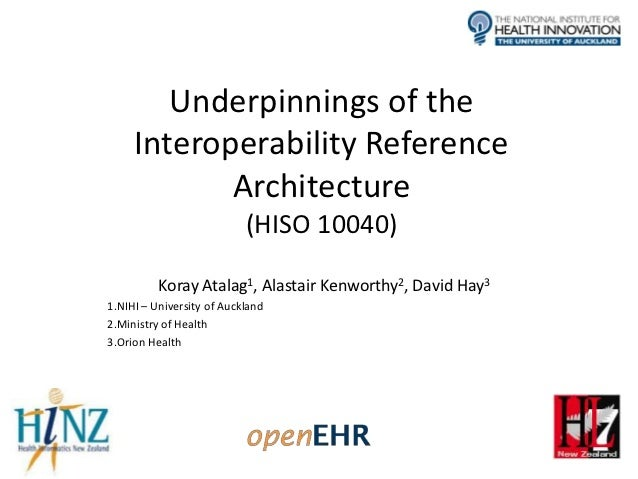 Underpinnings of the     Interoperability Reference            Architecture                           (HISO 10040)        ...