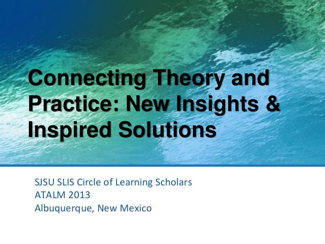 Connecting Theory and Practice: New Insights & Inspired Solutions SJSU SLIS Circle of Learning Scholars ATALM 2013 Albuque...