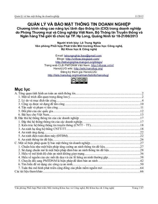 Quản lý và bảo mật thông tin doanh nghiệp 11/2012QUẢN LÝ VÀ BẢO MẬT THÔNG TIN DOANH NGHIỆPChương trình nâng cao năng lực l...
