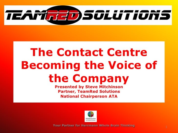 Ata Roadshow 2008 Contact Centre As The Voice Of The Company