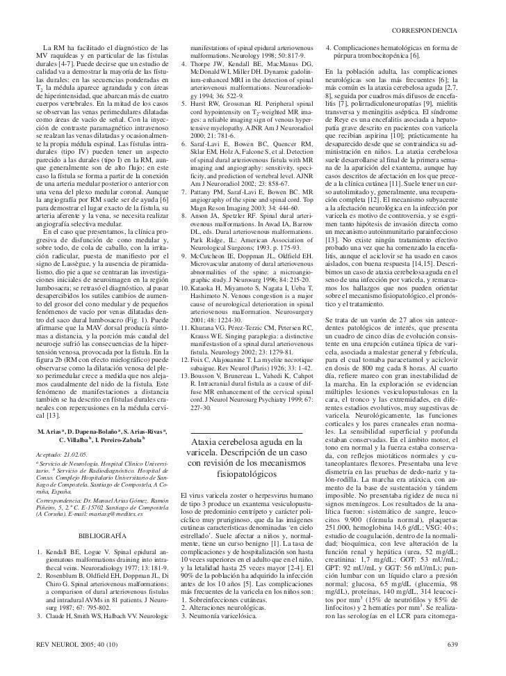 CORRESPONDENCIA   La RM ha facilitado el diagnóstico de las               manifestations of spinal epidural arteriovenous ...