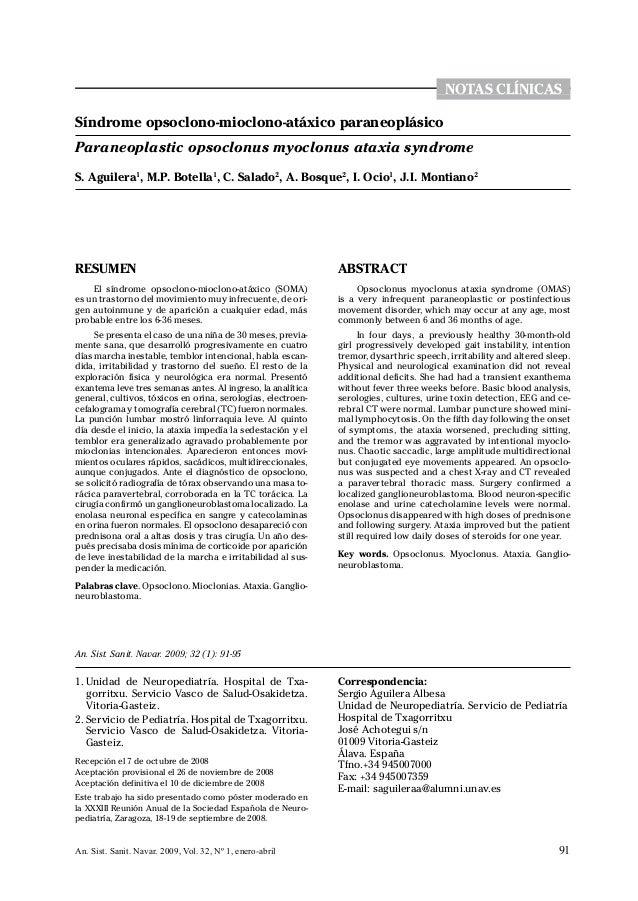 notas clínicas0Síndrome opsoclono-mioclono-atáxico paraneoplásicoParaneoplastic opsoclonus myoclonus ataxia syndromeS. Agu...
