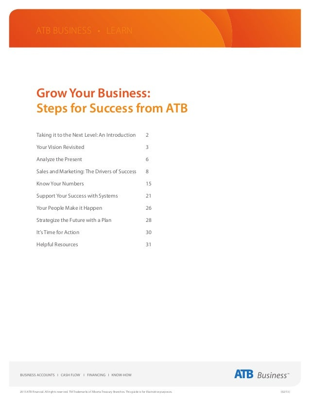 ATB Business • LEARN             Grow Your Business:             Steps for Success from ATB             Taking it to the N...