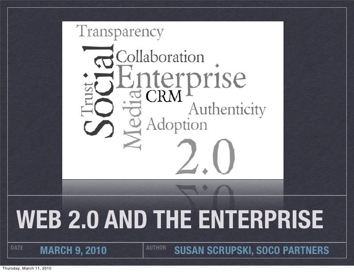 WEB 2.0 AND THE ENTERPRISE     DATE                          AUTHOR                   MARCH 9, 2010            SUSAN SCRUP...