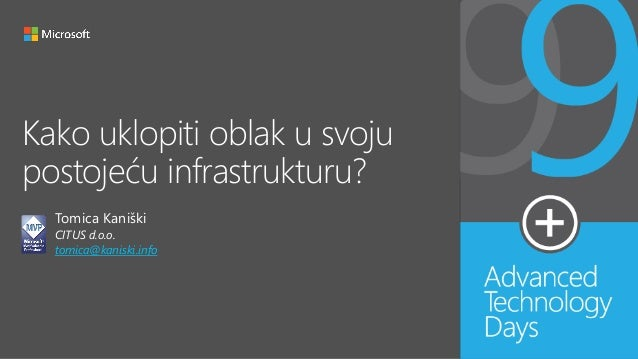 Kako uklopiti oblak u svoju postojeću infrastrukturu? Tomica Kaniški CITUS d.o.o. tomica@kaniski.info