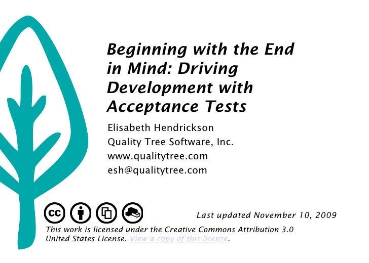 Introduction to Acceptance Test Driven Development