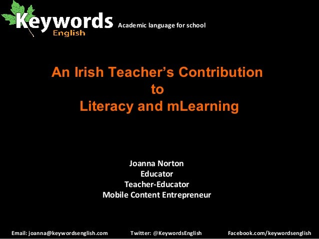 A teacher's contribution to literacy and mLearning