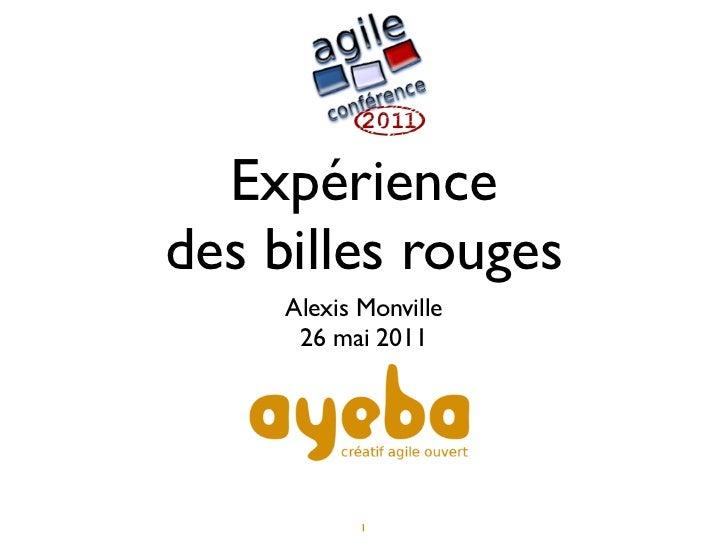 Expériencedes billes rouges     Alexis Monville      26 mai 2011            1