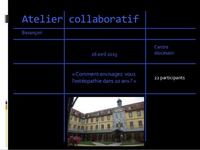 Atelier collaboratif Besançon « Comment envisagez vous l'ostéopathie dans 10 ans ? » Centre diocésain26 avril 2015 22 part...