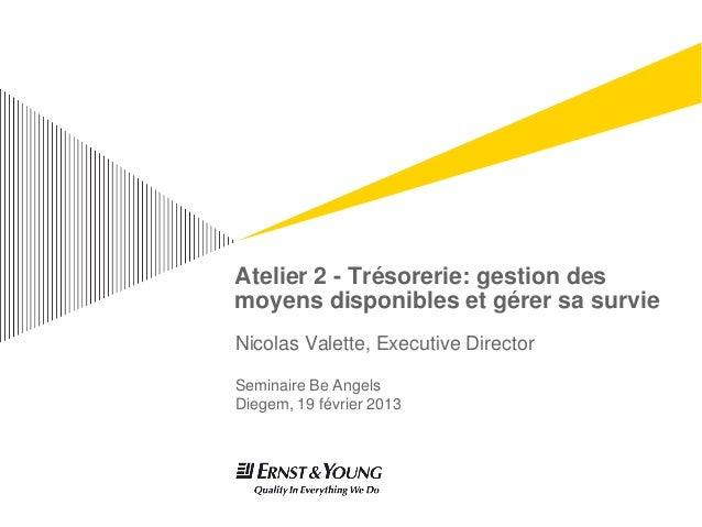 Atelier 2 - Trésorerie: gestion desmoyens disponibles et gérer sa survieNicolas Valette, Executive DirectorSeminaire Be An...