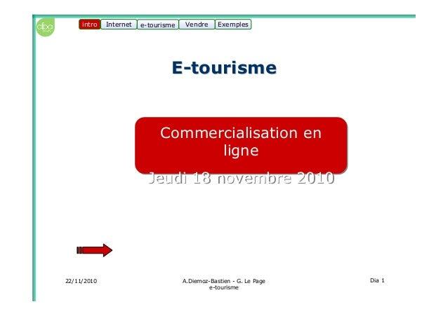 22/11/2010 A.Diemoz-Bastien - G. Le Page e-tourisme Dia 1 Internet e-tourisme ExemplesVendre Commercialisation en ligne Je...