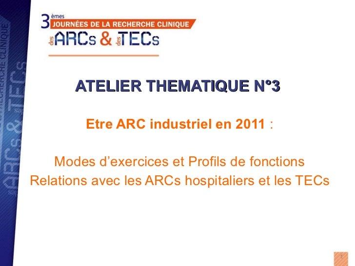 ATELIER THEMATIQUE N°3 Etre ARC industriel en 2011  : Modes d'exercices et Profils de fonctions Relations avec les ARCs ho...