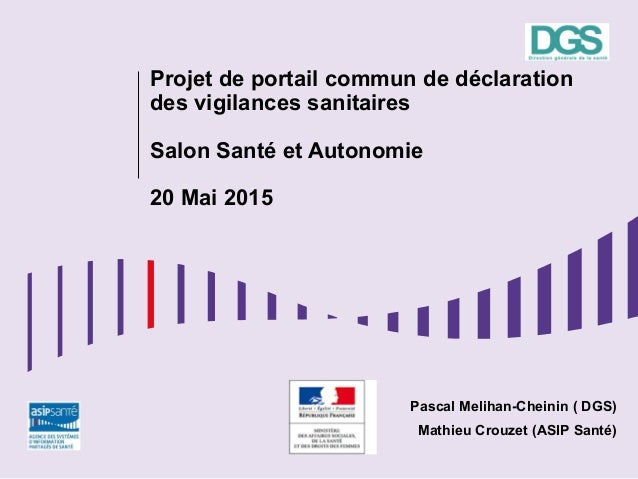 Projet de portail commun de déclaration des vigilances sanitaires Salon Santé et Autonomie 20 Mai 2015 Pascal Melihan-Chei...
