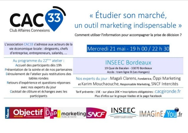 Atelier CAC33 « Étudier son marché : un outil marketing »