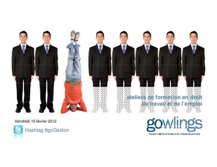 ateliers de formation en droit                              du                              d travail et de l'emploi      ...