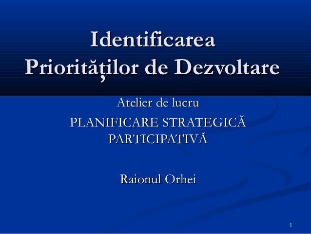 Atelier de lucru identificarea prioritatilor de dezvoltare, modul iii, orhei