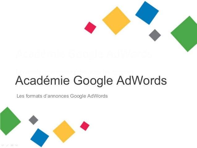 Académie Google AdWords Les formats d'annonces Google AdWords