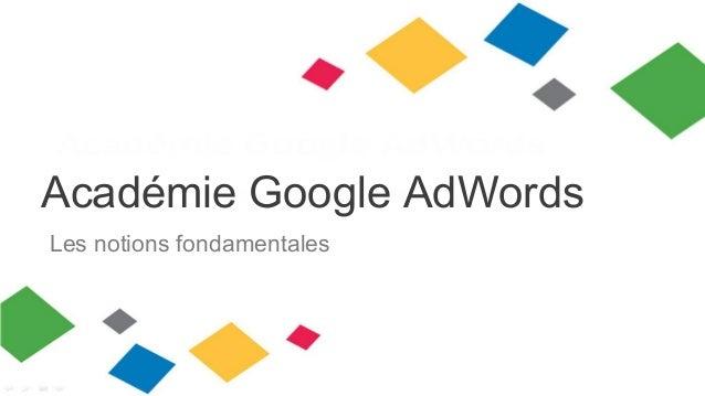 Académie Google AdWords Les notions fondamentales
