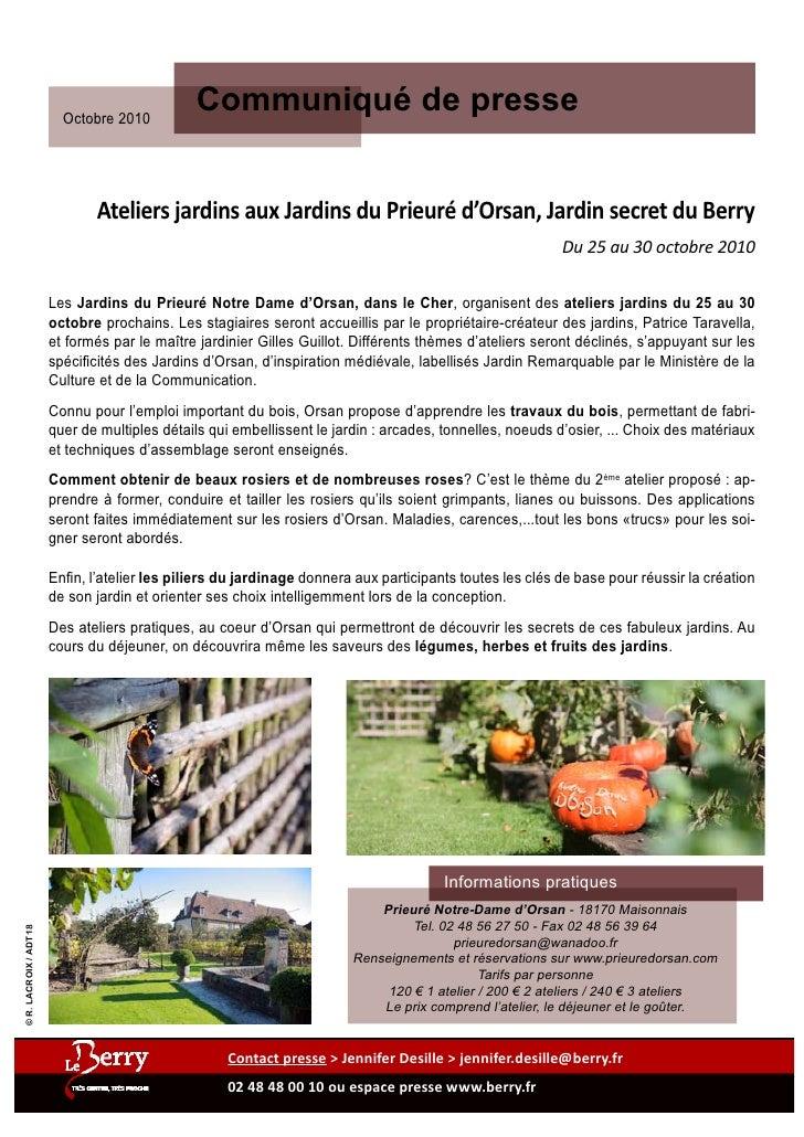 Octobre 2010                                                Communiqué de presse                                 Ateliers ...