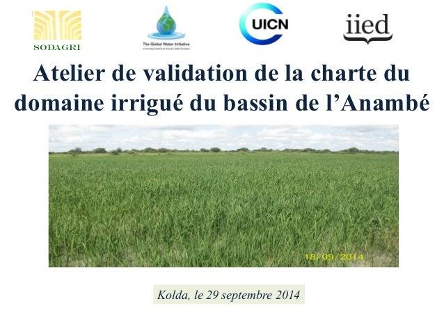 Atelier de validation de la charte du domaine irrigué du bassin de l'Anambé Kolda, le 29 septembre 2014 SODAGRI