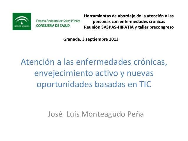 Atención a las enfermedades crónicas envejecimiento activo y nuevas oportunidades basadas en TIC. José Luis Monteagudo