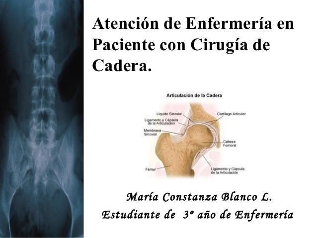 Atención de Enfermería enPaciente con Cirugía deCadera.     María Constanza Blanco L. Estudiante de 3º año de Enfermería